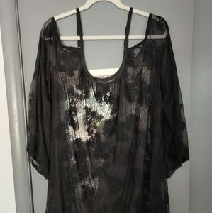 Sheer cold shoulder lace blouse